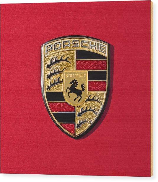 Porsche Emblem -0057cold Wood Print by Jill Reger