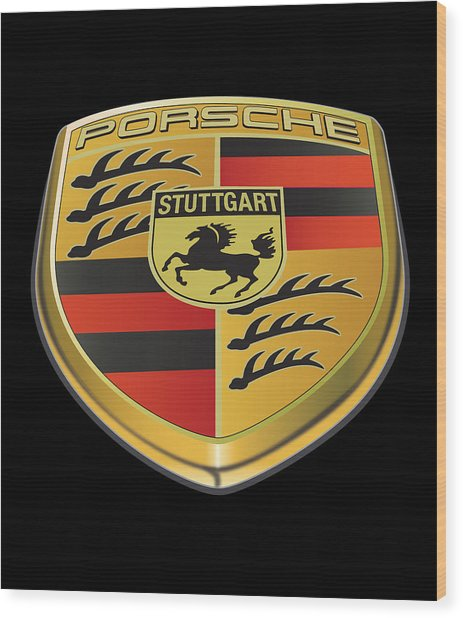 Porsche Logo On Black Wood Print