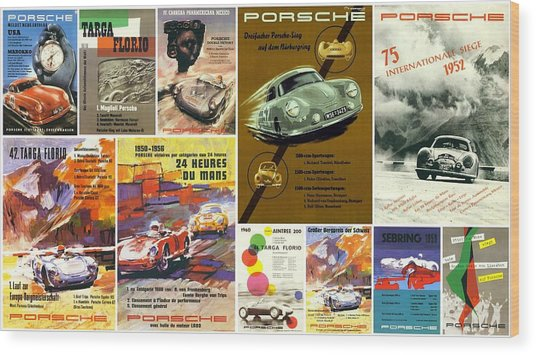 Porsche Racing Posters Collage Wood Print