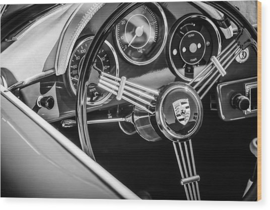 Porsche Steering Wheel Emblem -2043bw Wood Print by Jill Reger