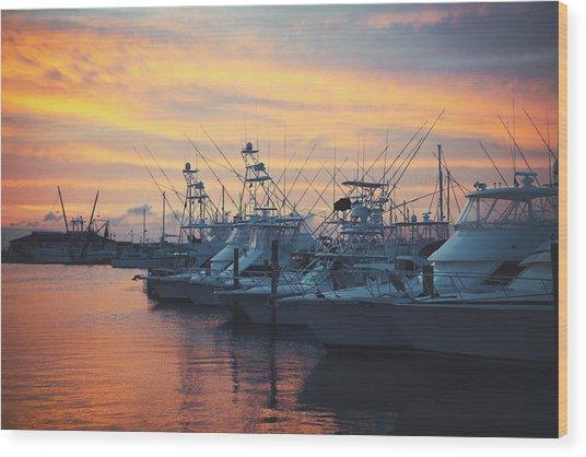 Port Aransas Marina Sunset Wood Print