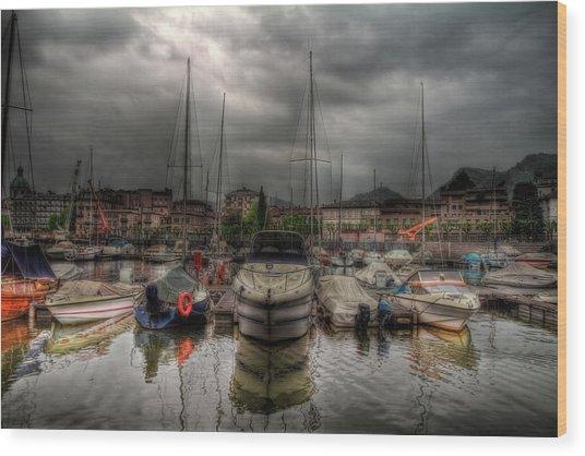 Port At Como Lake Wood Print