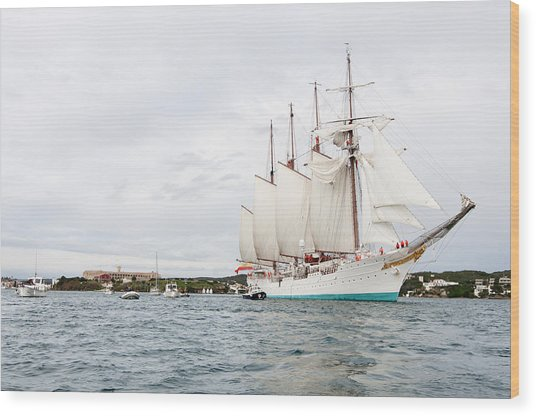 Juan Sebastian De Elcano Famous Tall Ship Of Spanish Navy Visits Port Mahon In Front Of Bloody Islan Wood Print