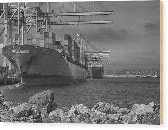 Port Of Long Beach Wood Print