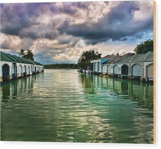 Storm Clouds Over  Port Royal Boathouses In Naples Wood Print
