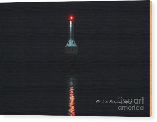Port Washington Night Light. Wood Print by Eric Curtin