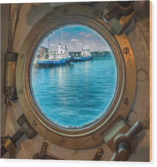 Wood Print featuring the photograph Hmcs Haida Porthole  by Garvin Hunter