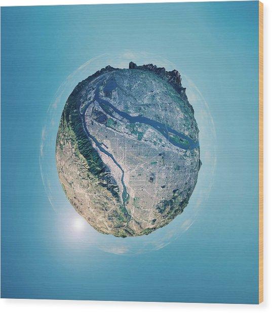 Portland 3d Little Planet 360-degree Sphere Panorama Wood Print by FrankRamspott