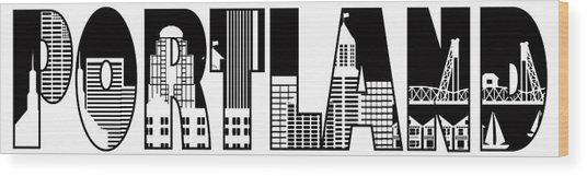 Portland City Skyline Text Outline Illustration Wood Print