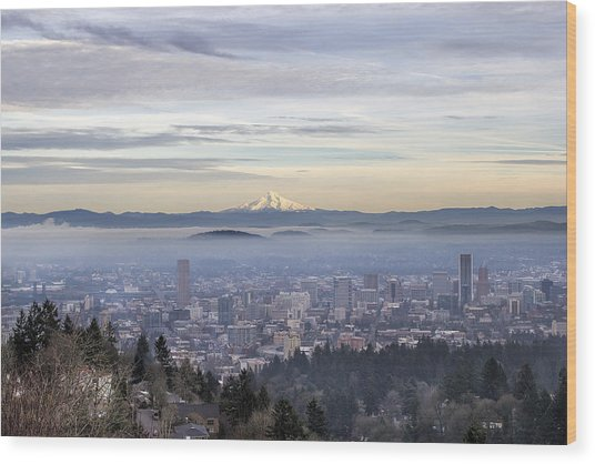 Portland Downtown Foggy Cityscape Wood Print