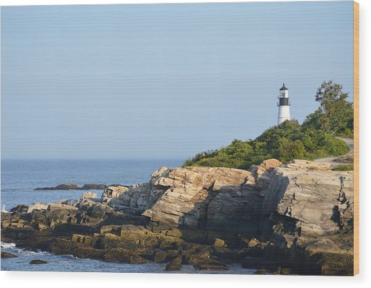Portland Head Light In Summer Wood Print