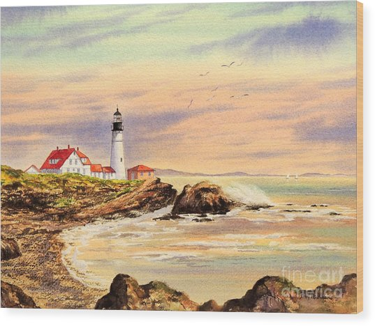 Portland Head Lighthouse Maine Wood Print