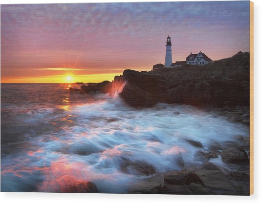 Portland Head Sunrise Wood Print