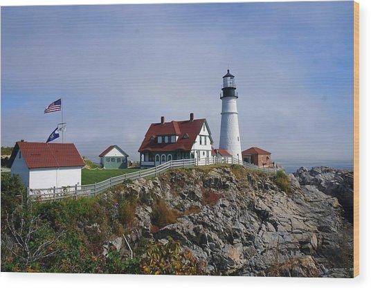Portland Lighthouse  Wood Print by Melissa C