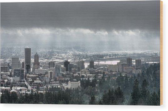 Portland Oregon After A Morning Rain Wood Print