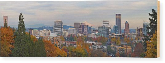 Portland Oregon City Skyline And Mount Hood Wood Print