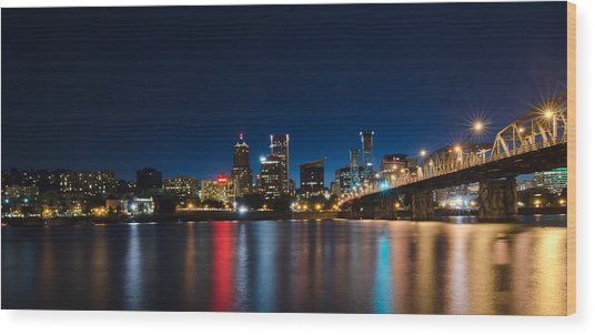 Portland Oregon Nightscape Wood Print