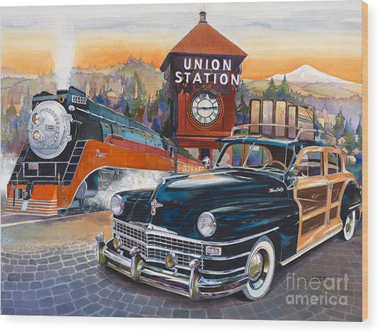 Portland's Union Station Wood Print by Mike Hill