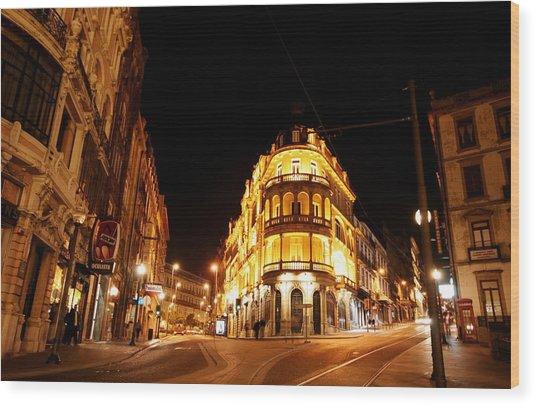 Porto Portugal At Night 1 Am Wood Print