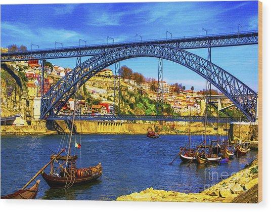 Porto Barges Wood Print
