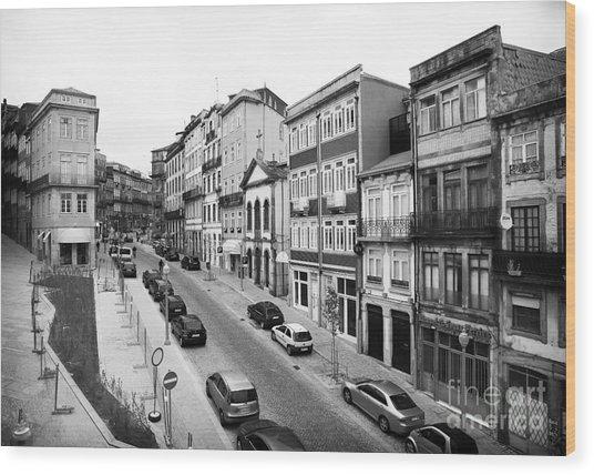 Porto Street Parking Wood Print by John Rizzuto
