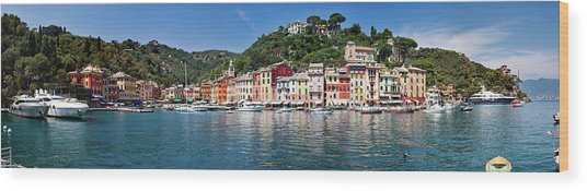 Portofino Big Panorama Wood Print by Phooey