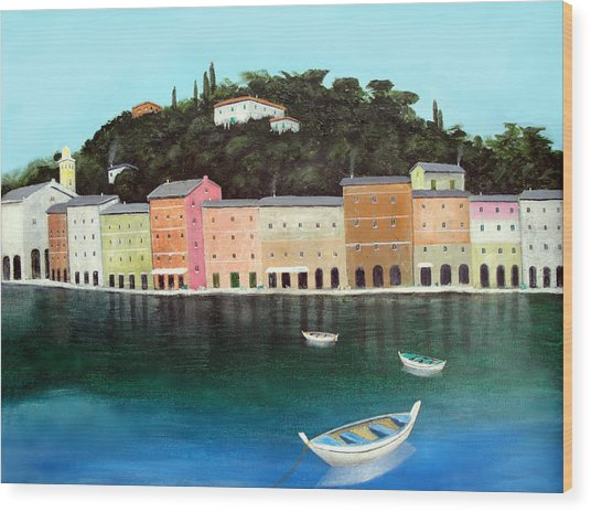 Portofino By The Sea Wood Print