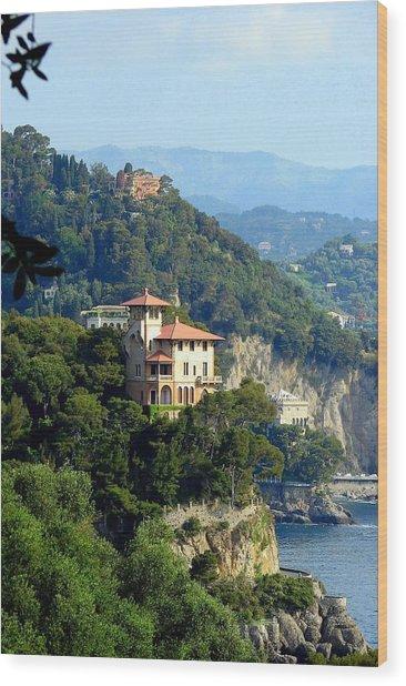 Portofino Coastline Wood Print