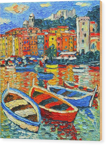 Portovenere Harbor - Italy - Ligurian Riviera - Colorful Boats And Reflections Wood Print