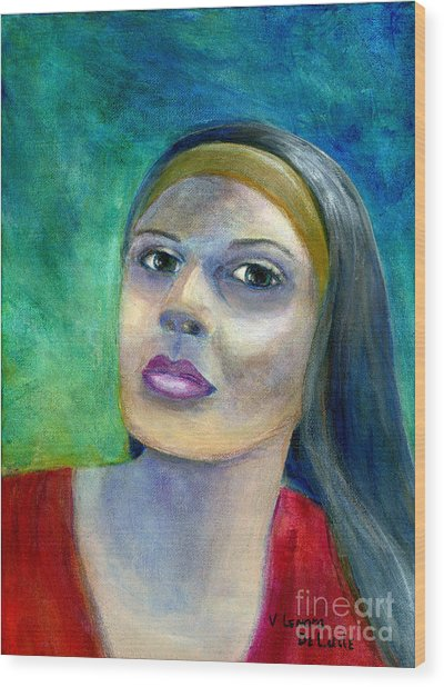 Portrait Art Woman In Red Wood Print