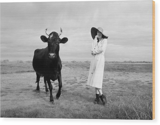 Portrait Bw Cow And Girl Wood Print