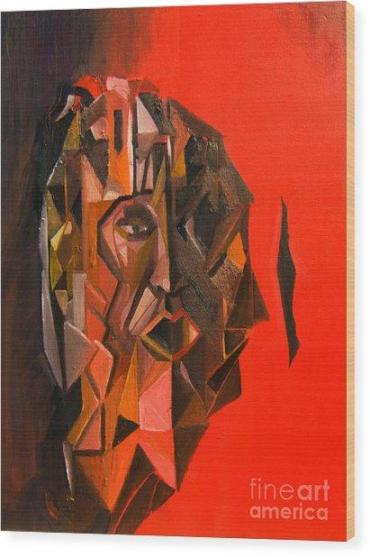 Portrait Mask Wood Print