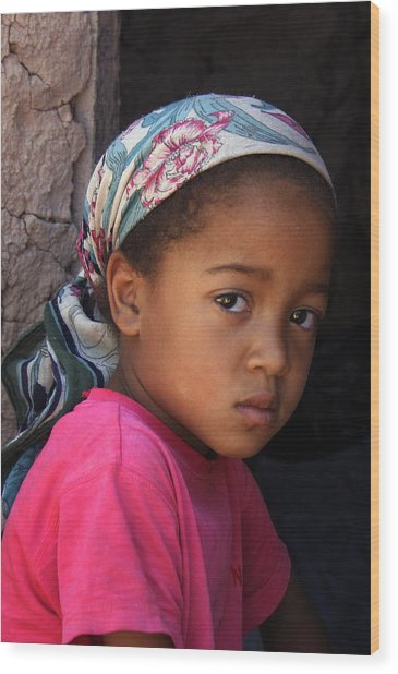 Portrait Of A Berber Girl Wood Print