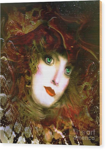 Portrait Of A Lady With A Red Hat Wood Print by Doris Wood