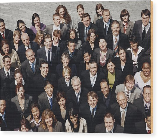 Portrait Of A Large Group Of Business People Standing Outdoors Wood Print by Digital Vision.