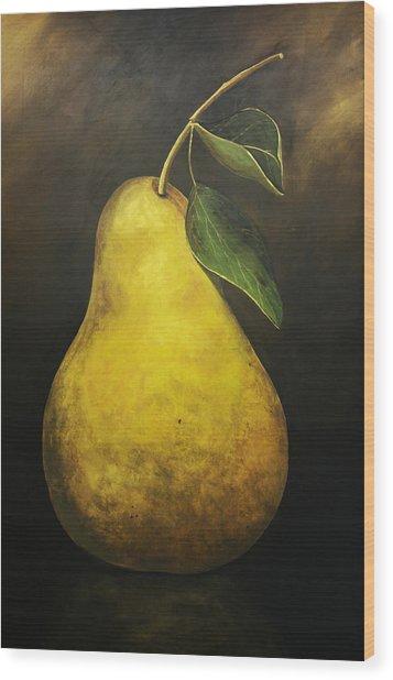 Portrait Of A Pear Wood Print by Terri  Meyer
