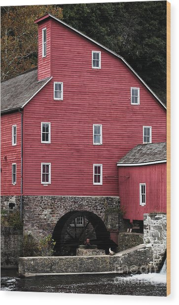 Portrait Of A Red Mill Wood Print by John Rizzuto