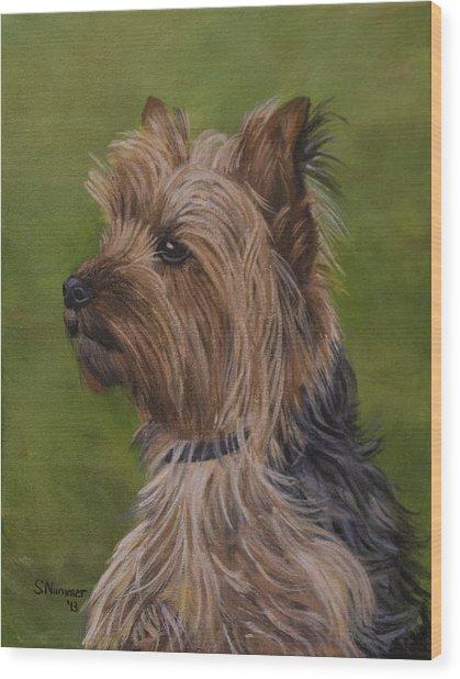 Portrait Of A Yorkie Wood Print