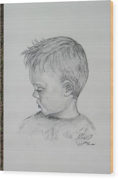 Portrait Of A Young Boy Wood Print by Paula Rountree Bischoff