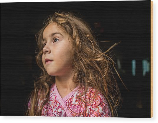 Portrait Of A Young Girl. Wood Print by Fran Polito