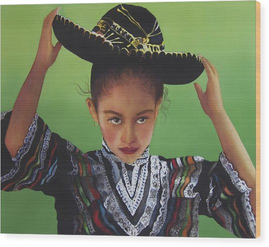 Portrait Of A Young Mexican Girl Wood Print