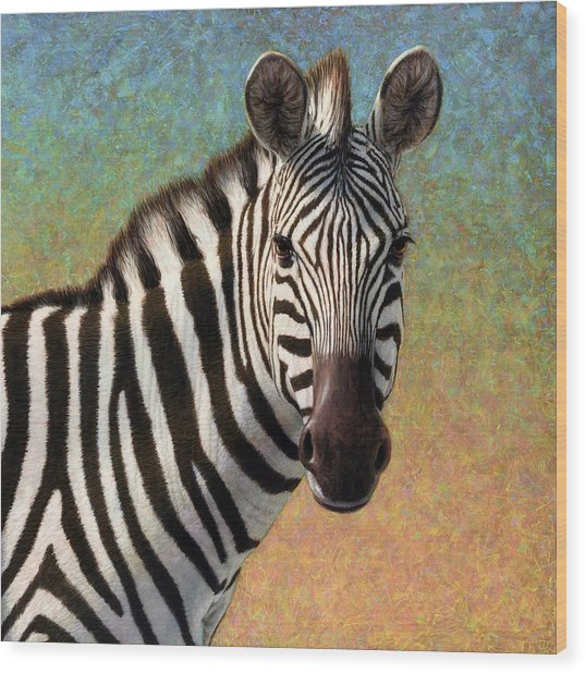 Portrait Of A Zebra - Square Wood Print