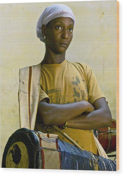 Portrait Of An Afro-cuban Drummer Wood Print