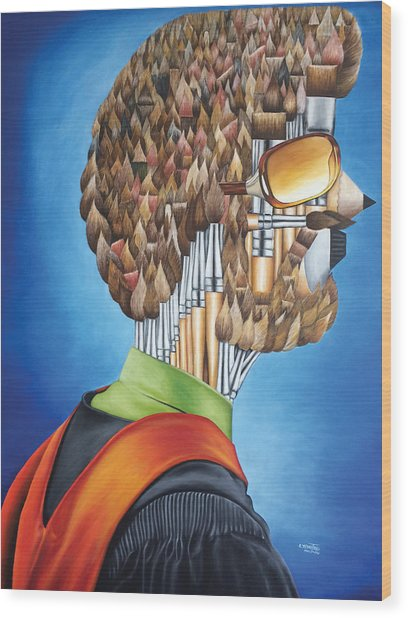 Portrait Of An Artist - Jim Meaders 1984 Wood Print