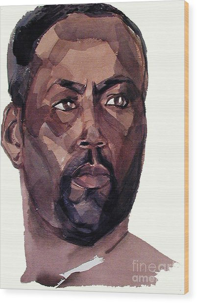 Watercolor Portrait Of An Athlete Wood Print