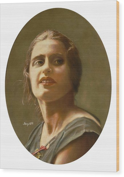 Portrait Of Ayn Rand Wood Print