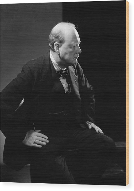 Portrait Of British Prime Minister Winston Wood Print