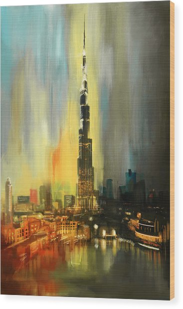 Portrait Of Burj Khalifa Wood Print