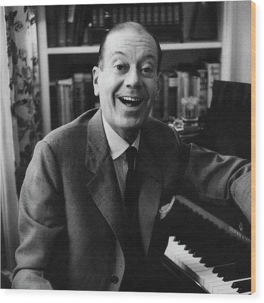 Portrait Of Cole Porter Sitting At His Piano Wood Print