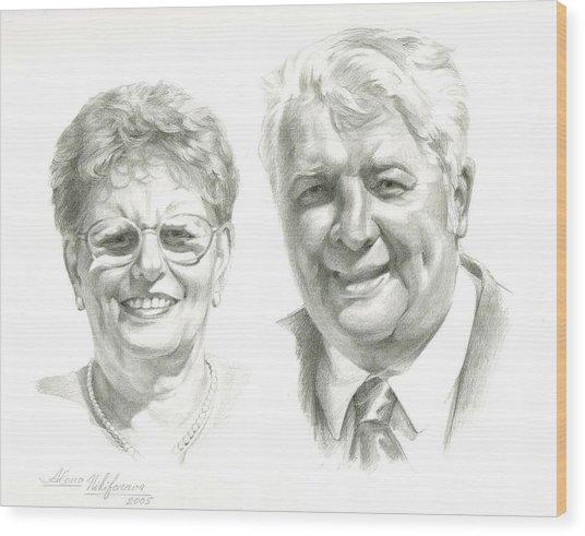 Portrait Of Couple. Commission. Wood Print